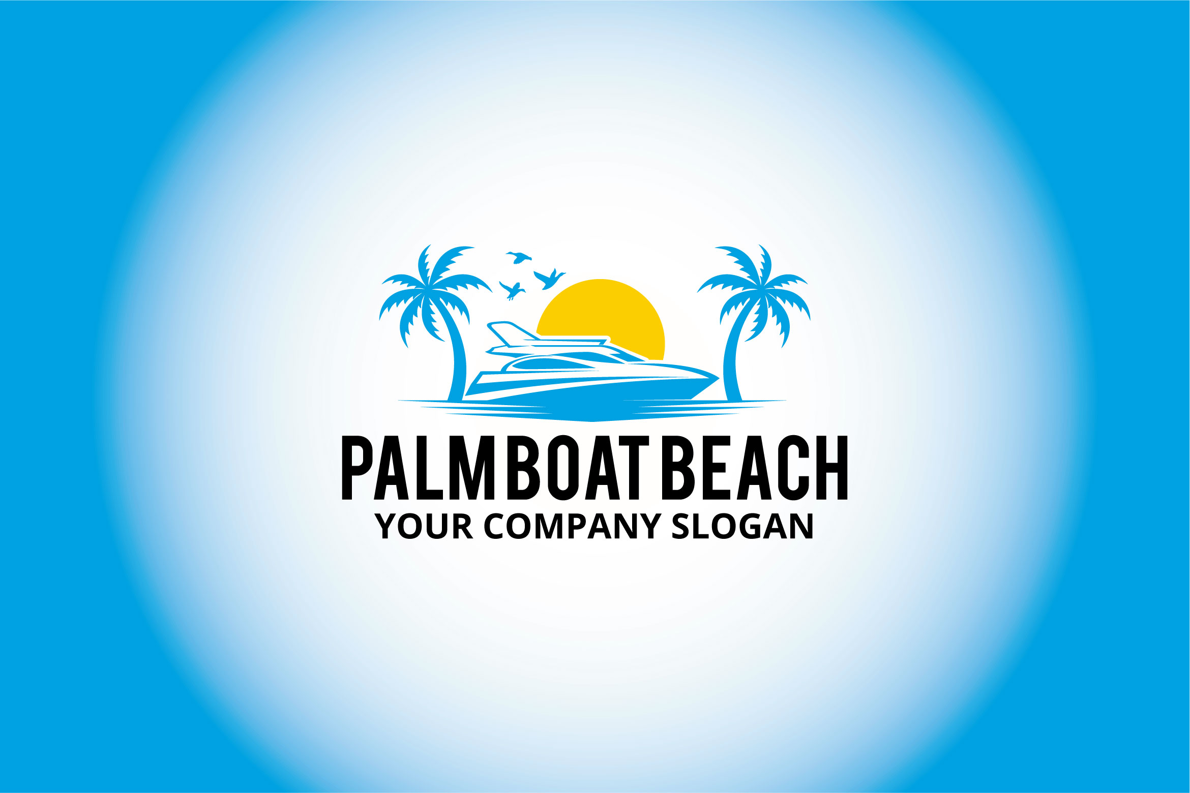 palm boat beach logo example image 1