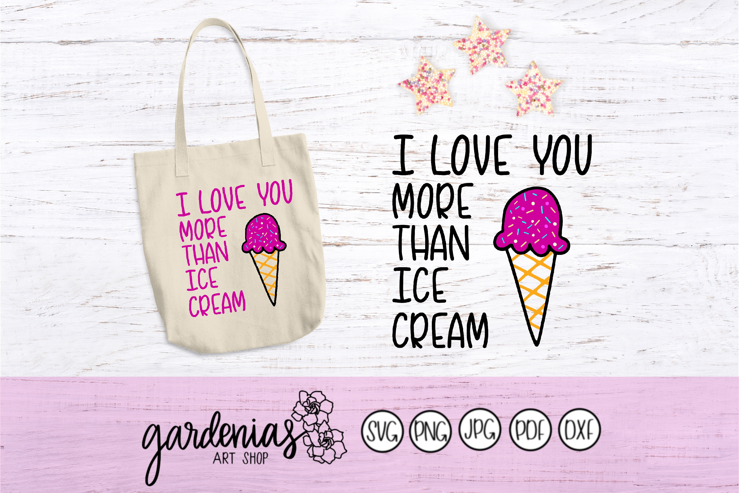 I Love You More Than Ice Cream SVG Cut Files example image 2