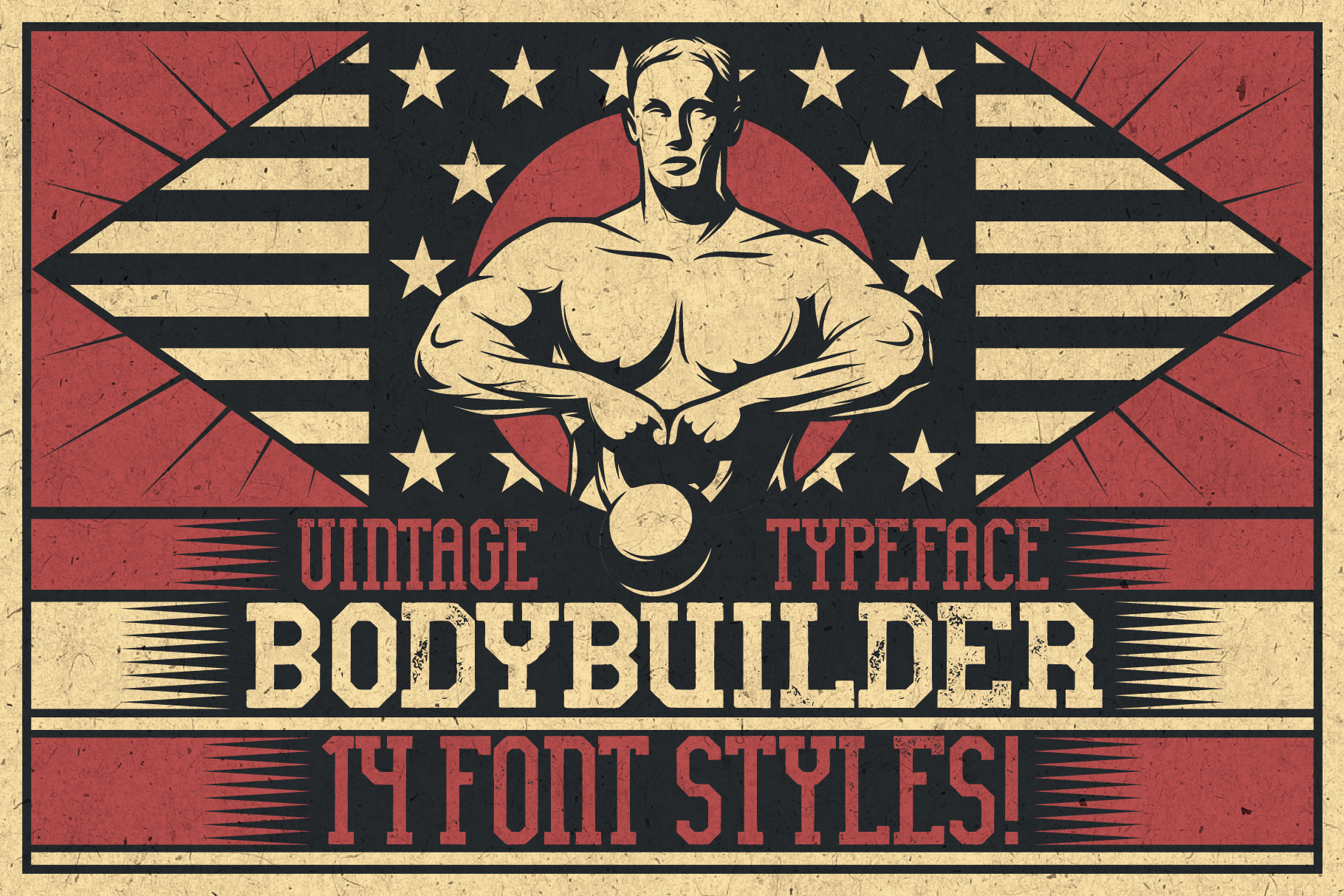 Bodybuilder Layered Font plus Bonus example image 5