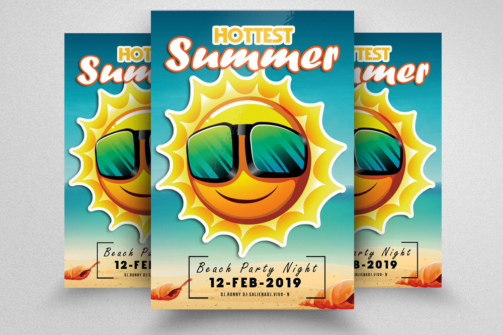 10 Summer Beach Fun Party Flyers Bundle example image 2