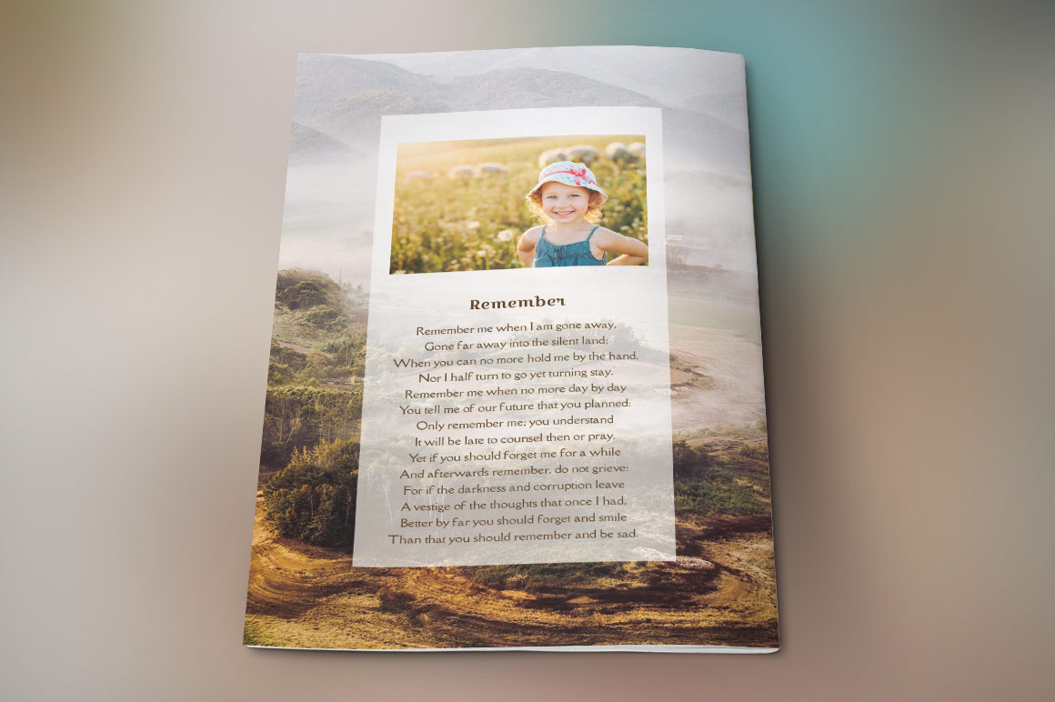 Adventure Small Funeral Program Template example image 4