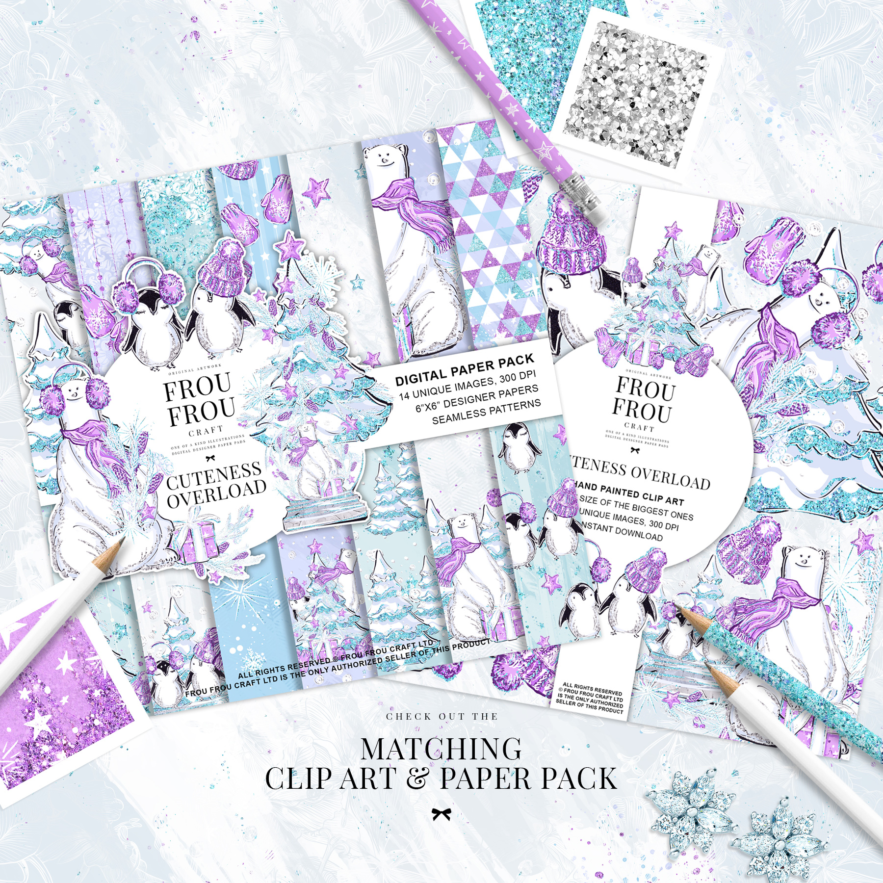 Winter Christmas Tree Penguin Bear Paper Pack example image 3