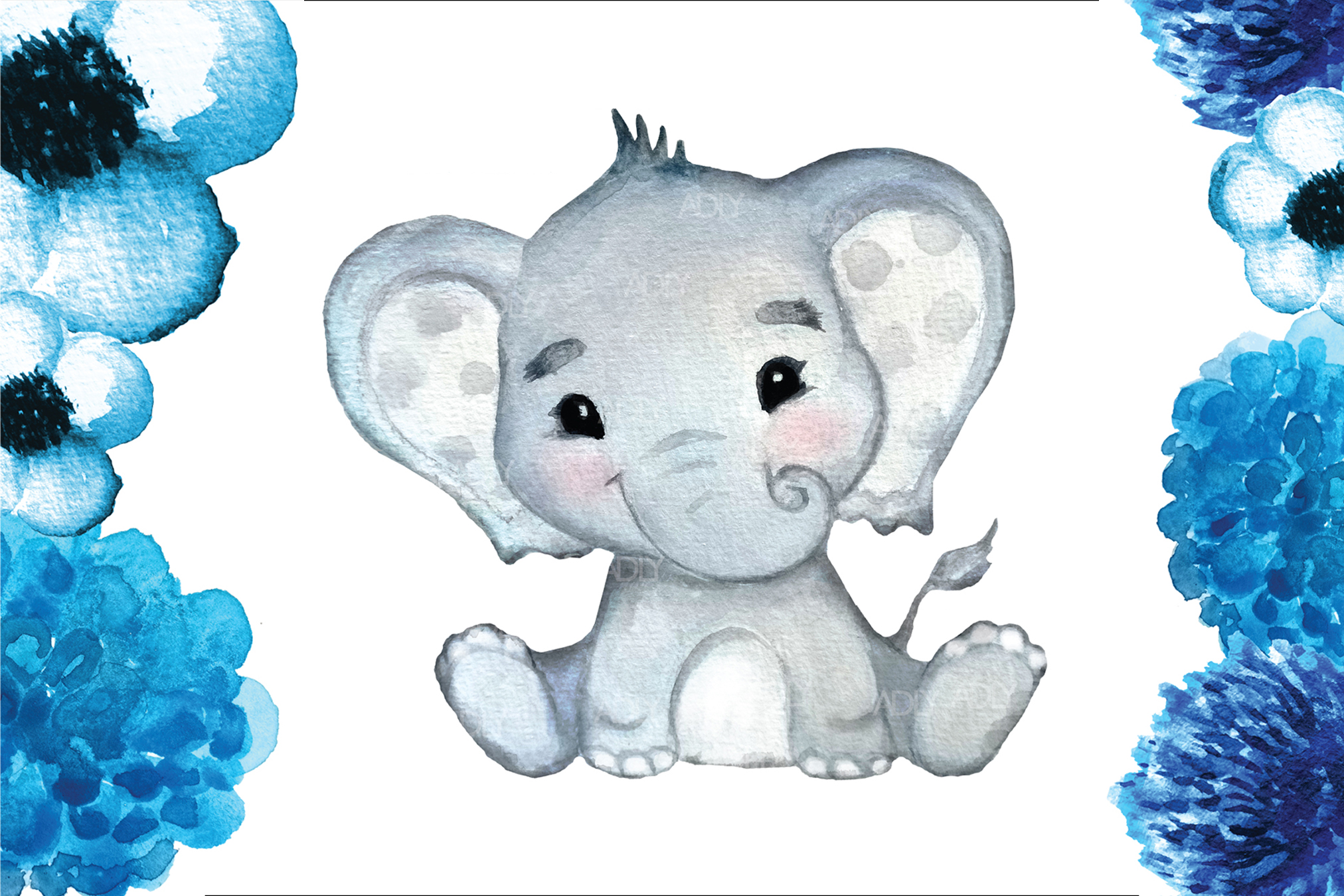 Watercolor Boy Elephant Clip Art in vector format, png, jpeg example image 1