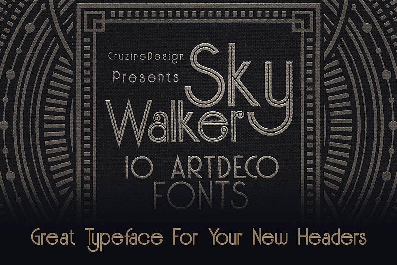 Skywalker - ArtDeco Typeface example image 4