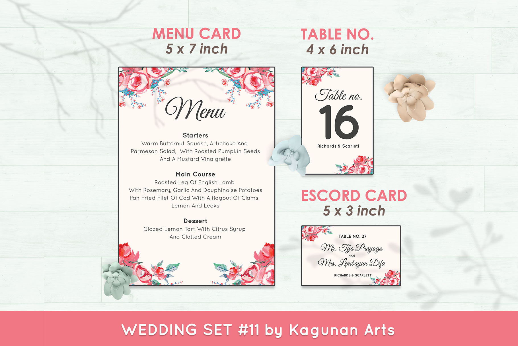 Wedding Invitation Set #11 Watercolor Floral Flower Style example image 6