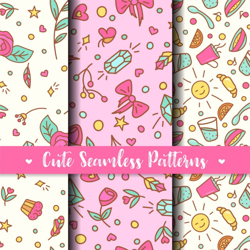 Cute Seamless Patterns. Prints for kids products example image 1