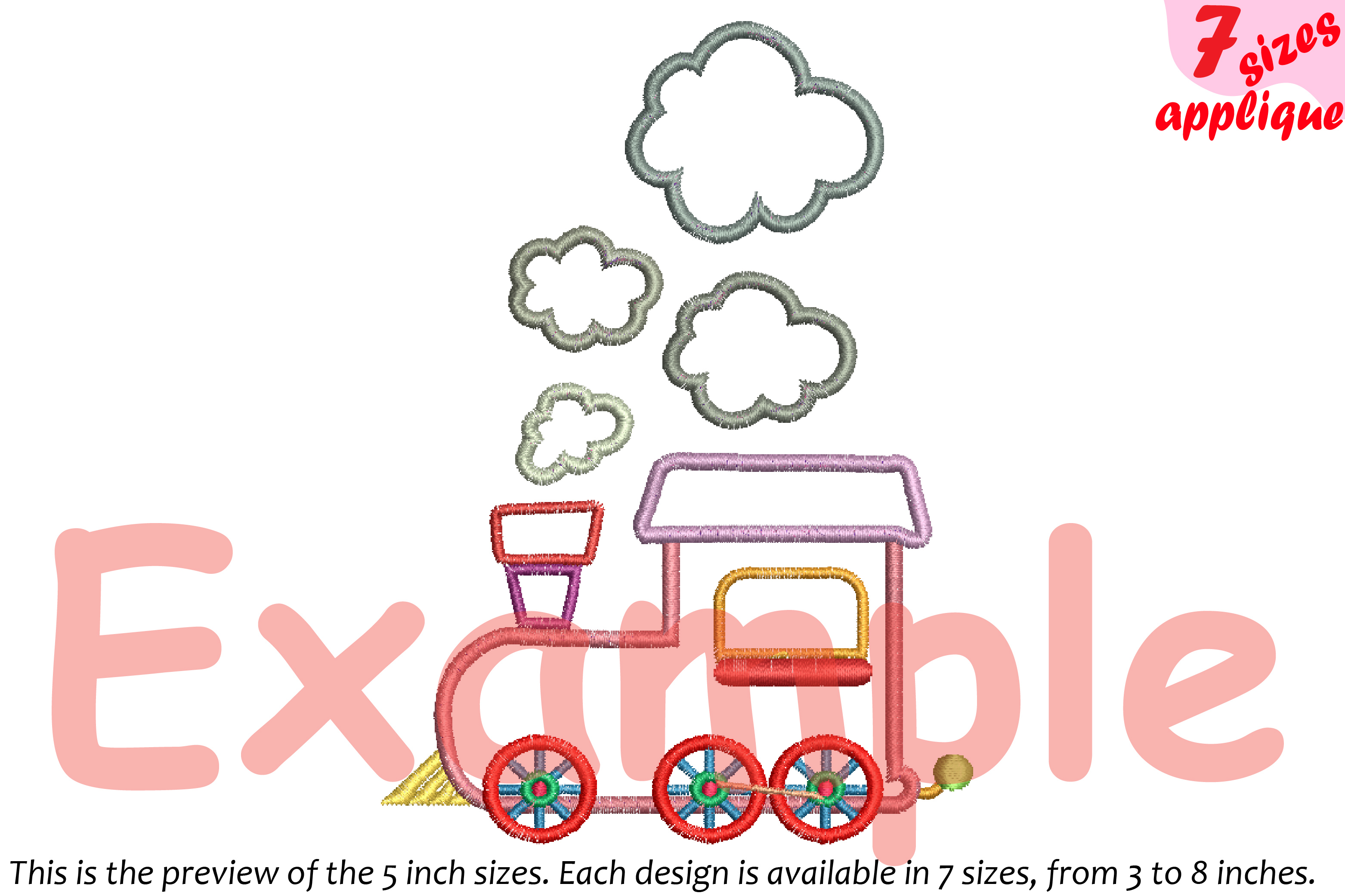 Train Toy Applique Designs for Embroidery Machine Instant Download Commercial Use symbol outline cartoon baby boy Birthday toys 20a example image 2