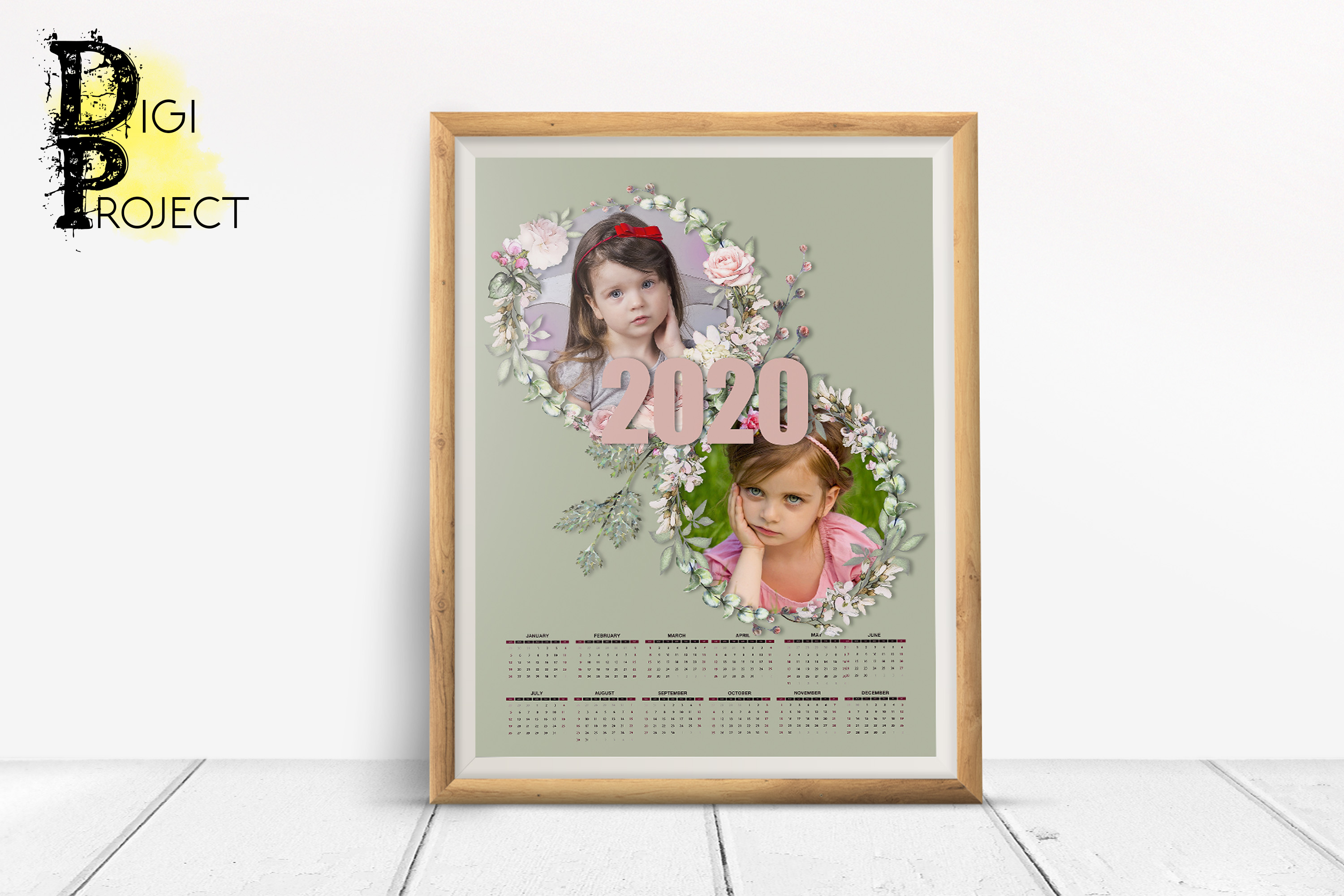 2020 Pink Roses Photo Calendar with clipping masks example image 1