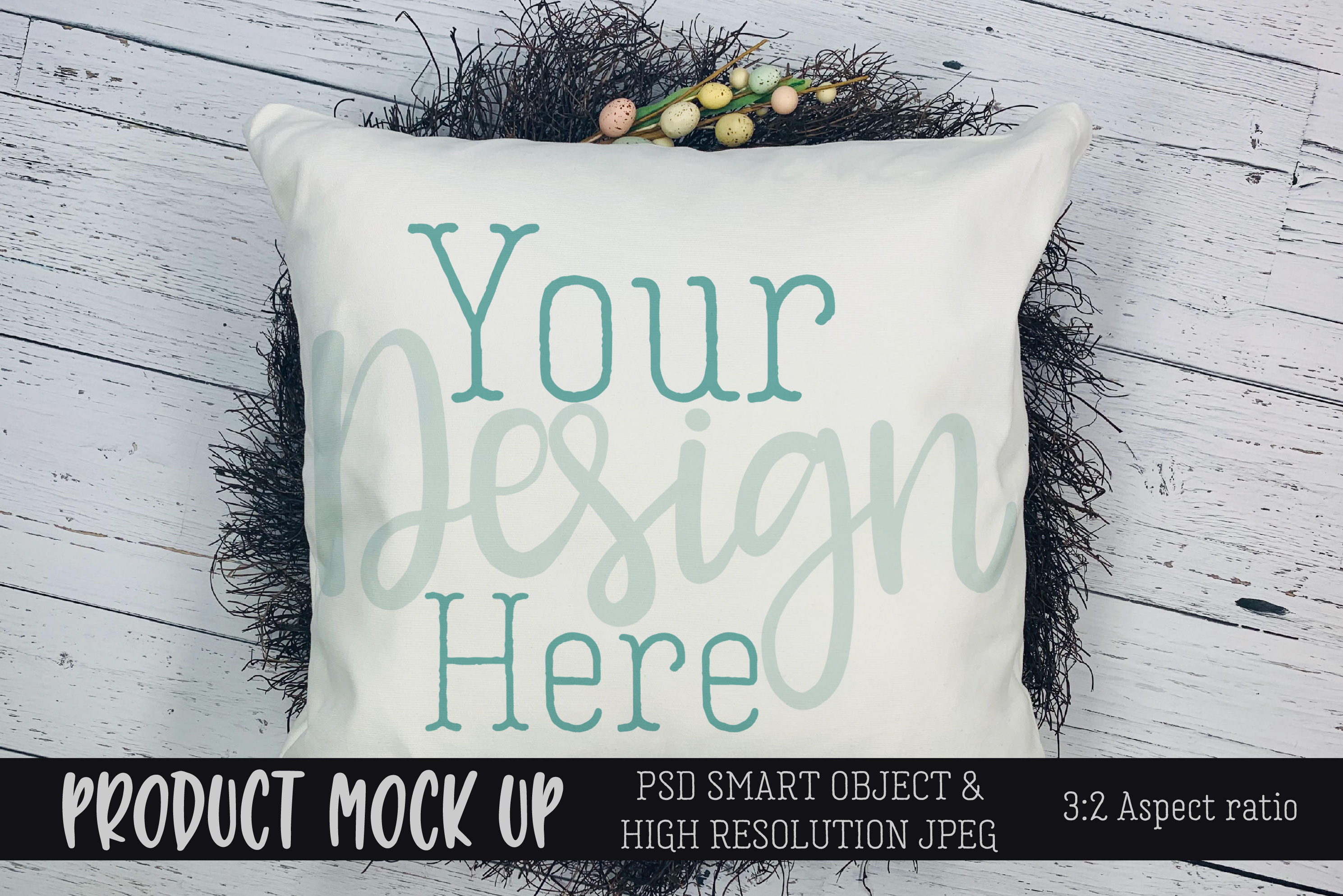 Spring Easter pillow Craft mock up   PSD & JPEG example image 1