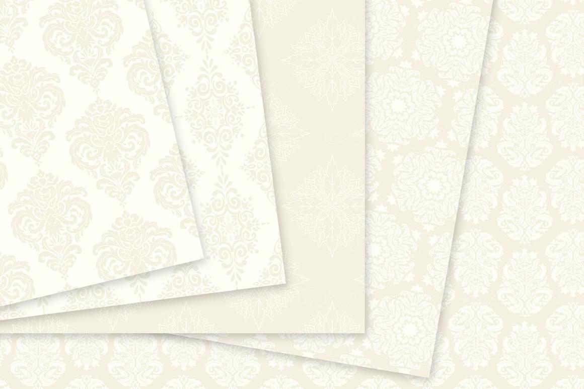 28 Ivory Damask Patterns - Wedding Seamless Digital Papers Bundle example image 9
