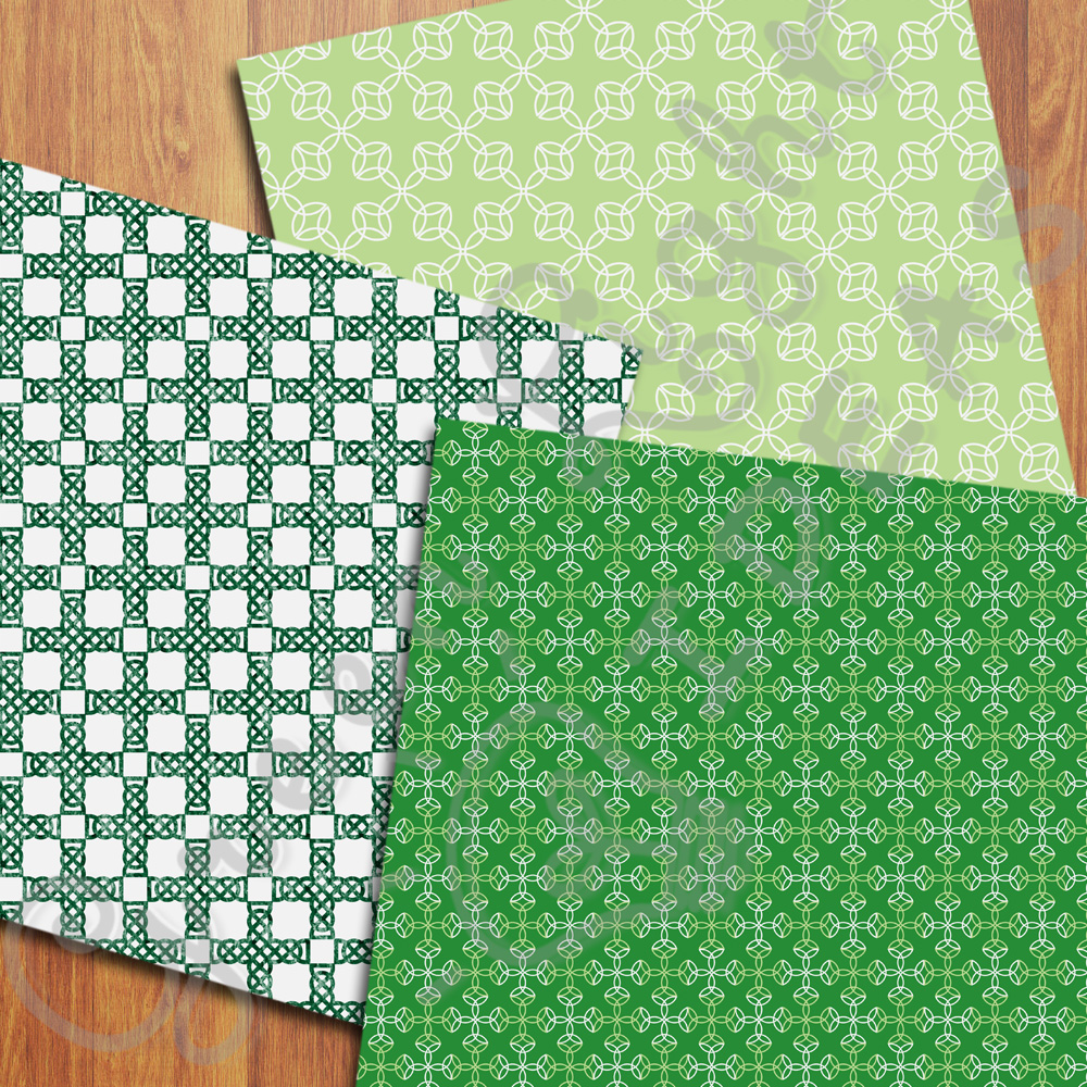 Celtic Digital Papers, St Patrick's Day Backgrounds, Irish Papers example image 2