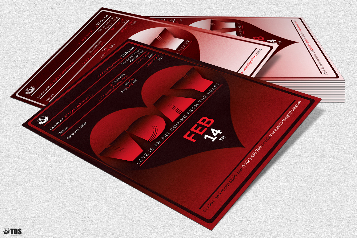 Valentines Day Flyer Template V11 example image 4