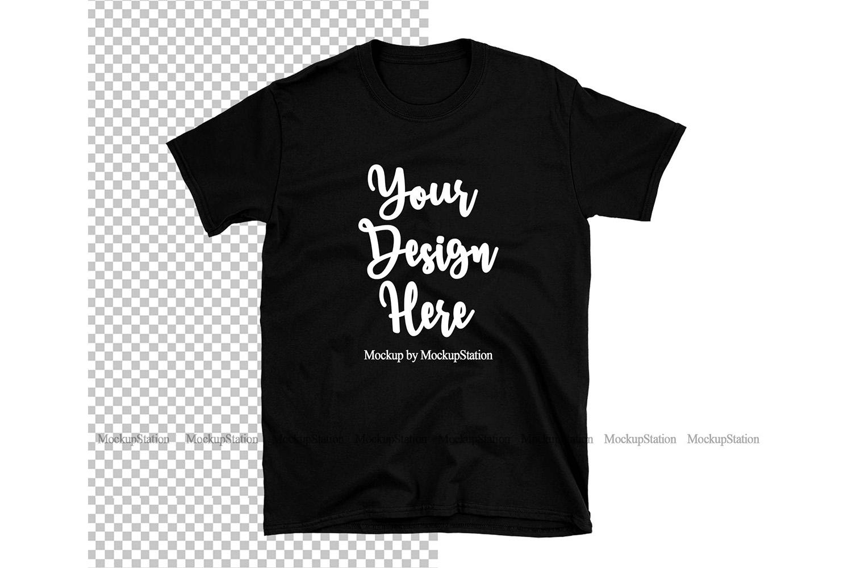 Black Gildan TShirt Mock Up Transparent & White Background example image 1