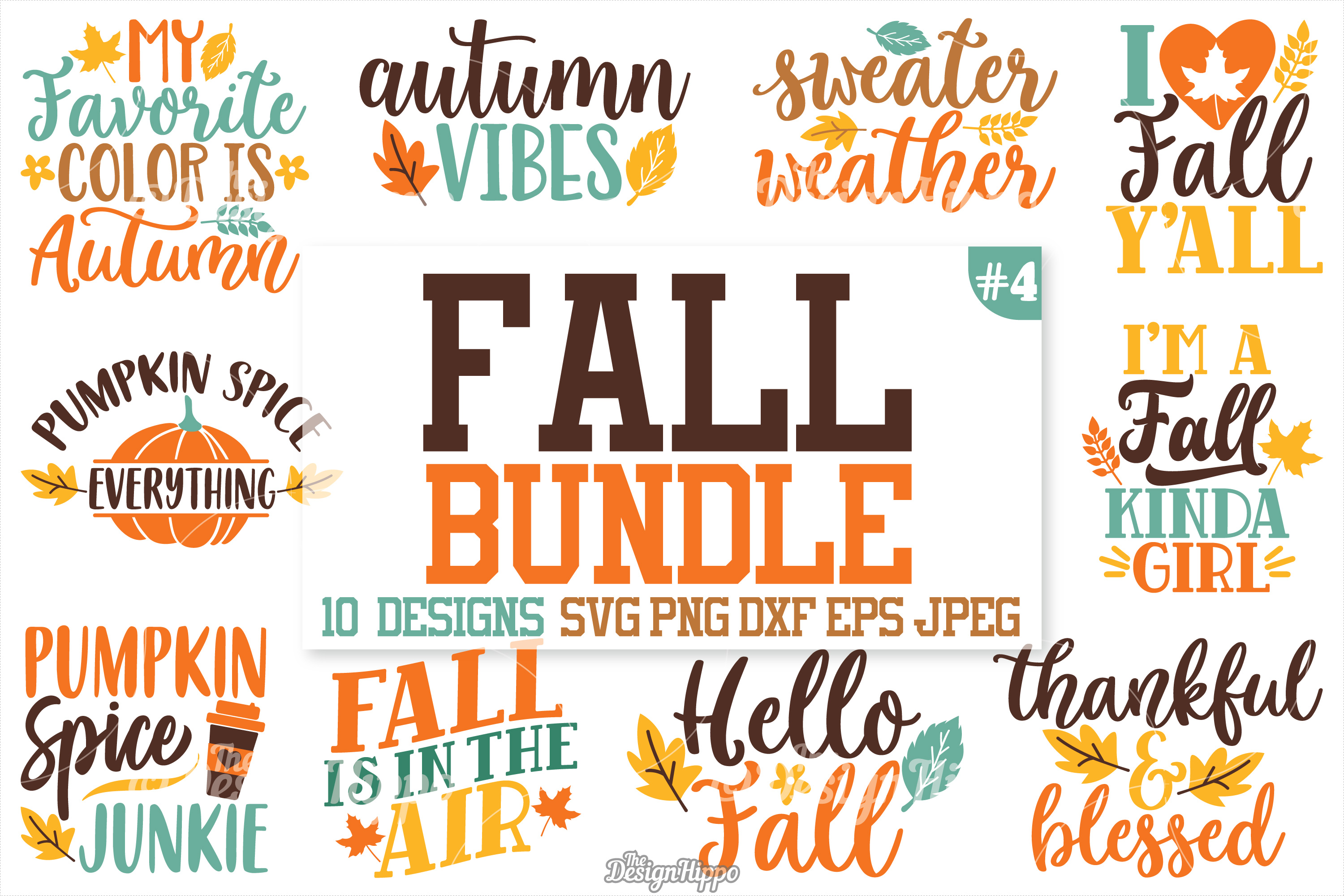 Fall Sayings SVG Bundle, Autumn, Pumpkin, Quotes, Signs, PNG example image 1