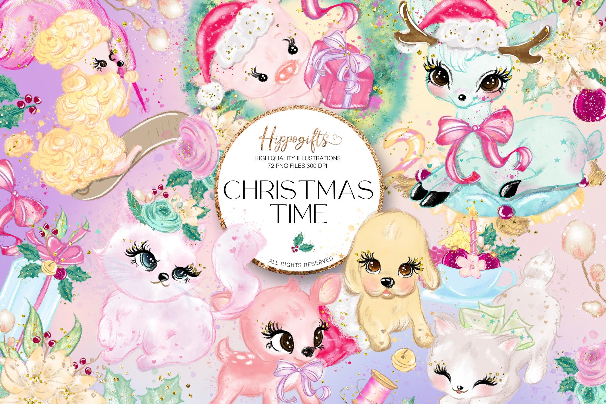 Animals Christmas Clip Art example image 1