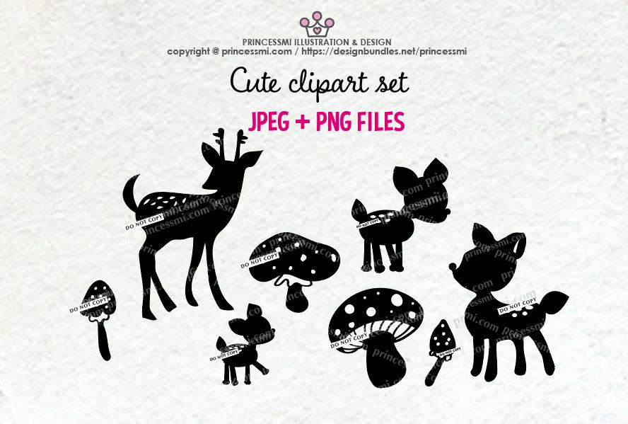 Deer and mushroom Silhouette clipart set example image 1