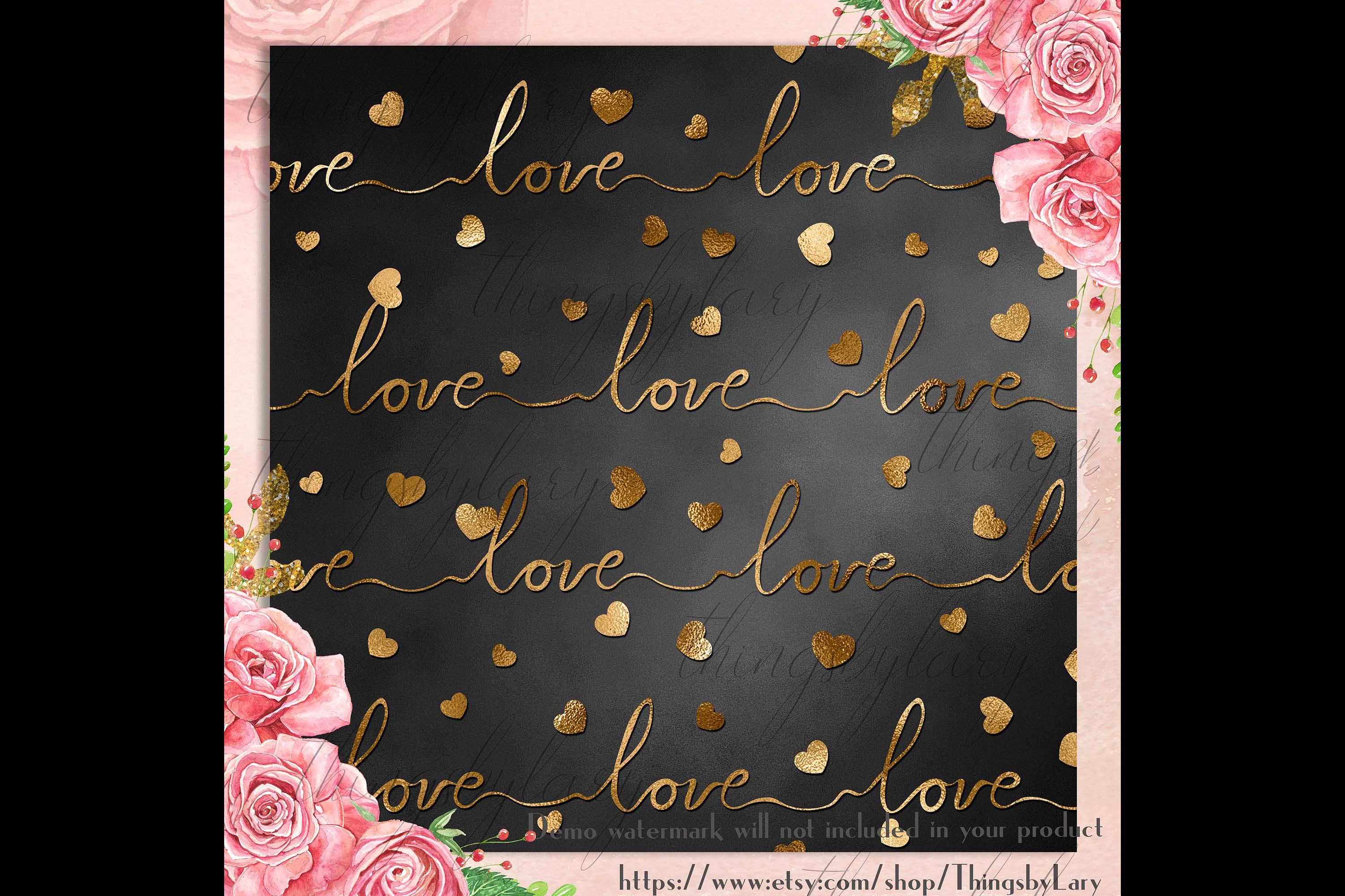 30 Black and Gold Valentine Love Heart Digital Papers Card example image 6
