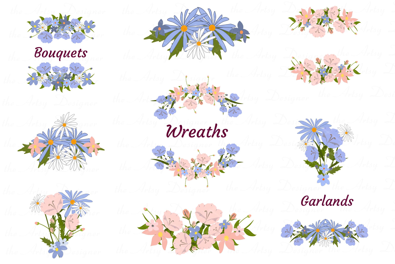 Blue Peach Daisy Flowers Sublimation Transfer Clipart Bundle example image 3
