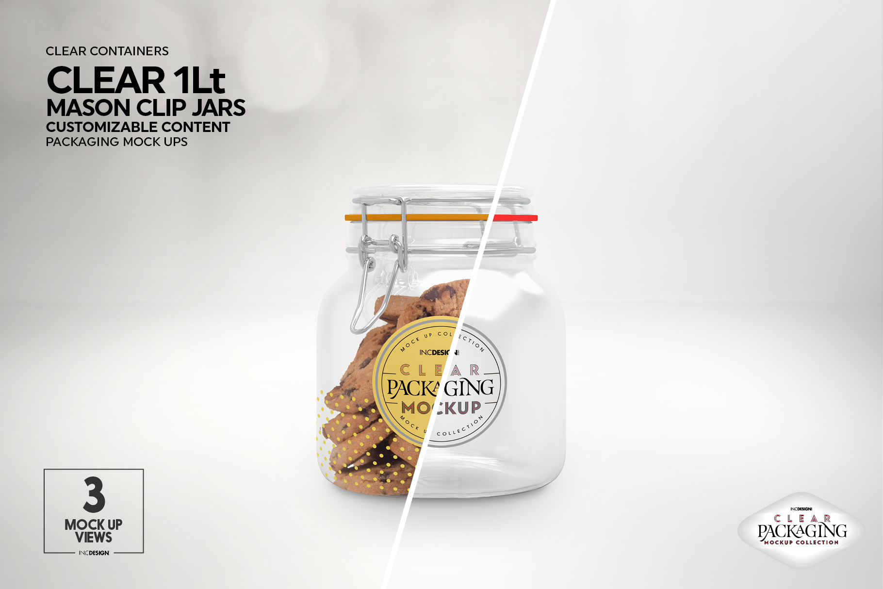 Clear 1Liter Mason Clip Jar Packaging Mockup example image 2