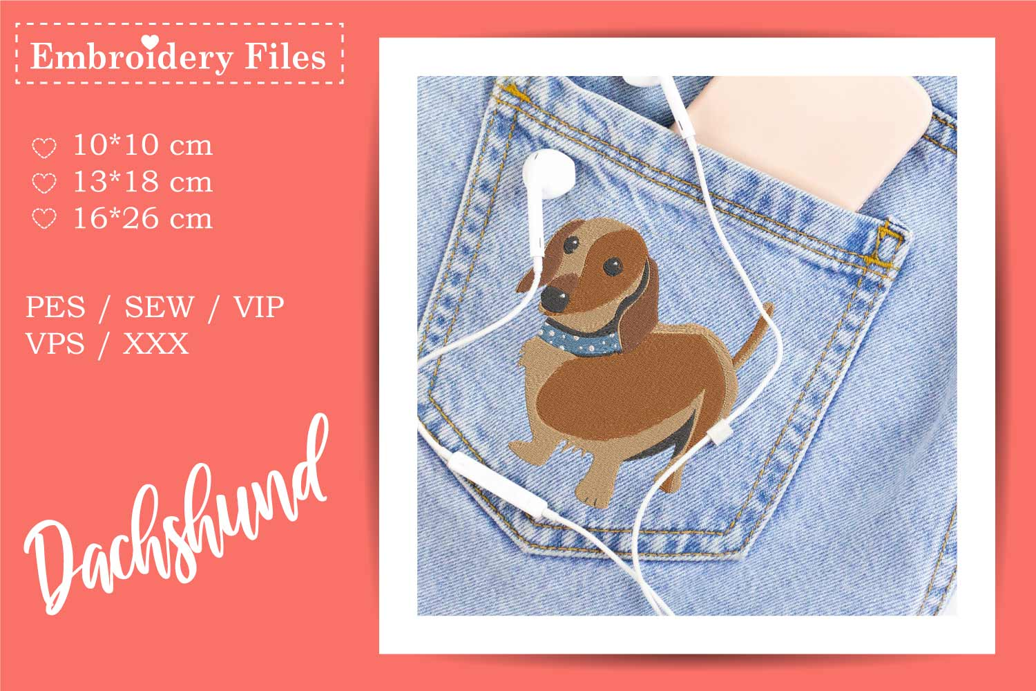 Cute Dachshund - Embroidery File for Beginners example image 2