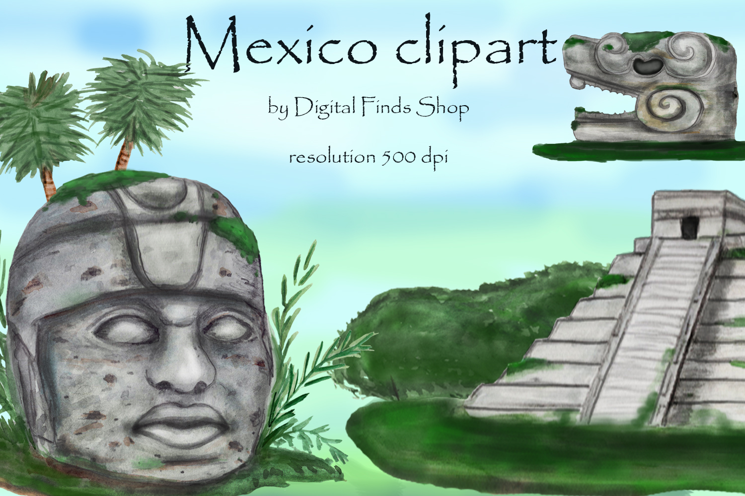 Mayan clipart, ancient civilizations of Mexico watercolor example image 8