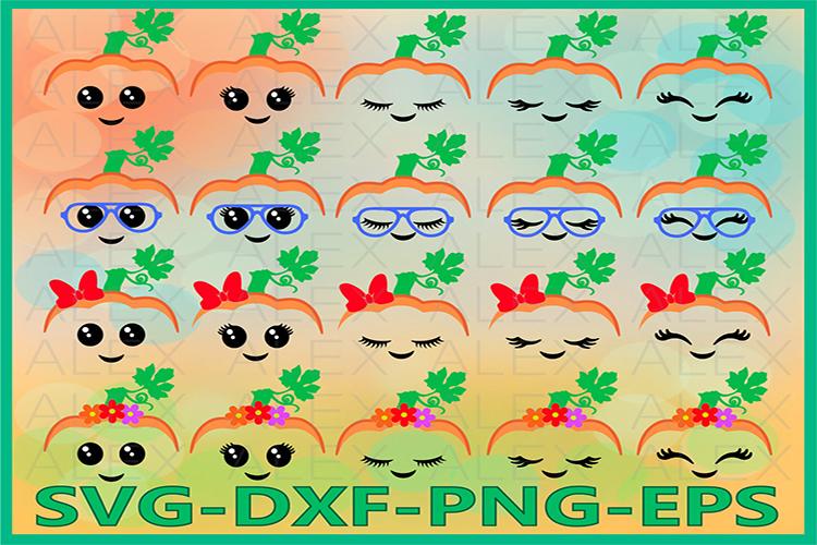 Pumpkin Face Svg, Pumpkin SVG, Halloween Girls svg, Fall Svg example image 1