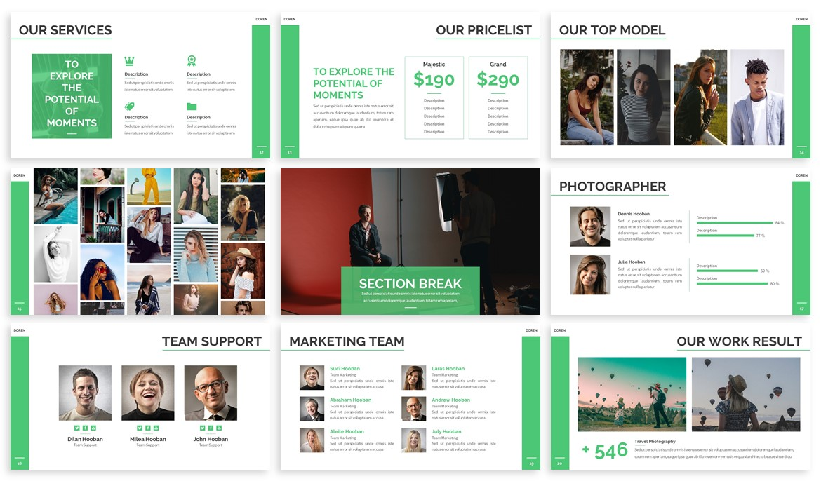 Doren - Photography Powerpoint Template example image 3