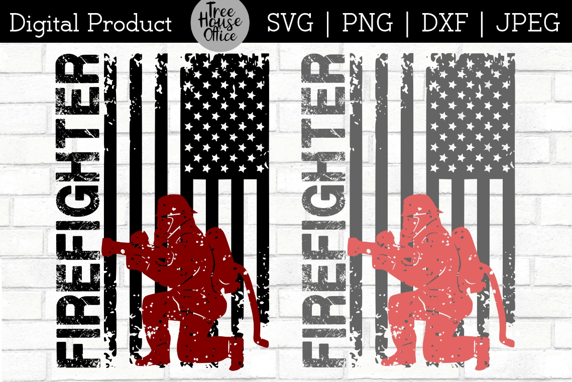 Firefighter Flag Thin Red Line SVG DXF PNG JPEG example image 1
