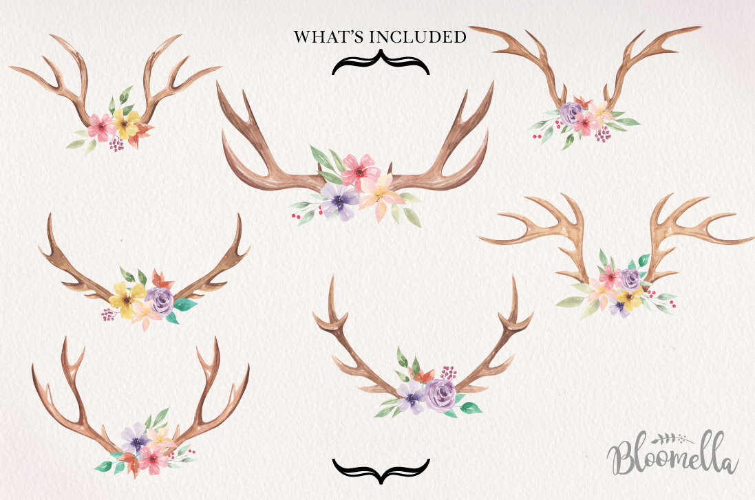 Antlers Floral 7 Bouquets Watercolor Elegant Stag Flowers example image 2
