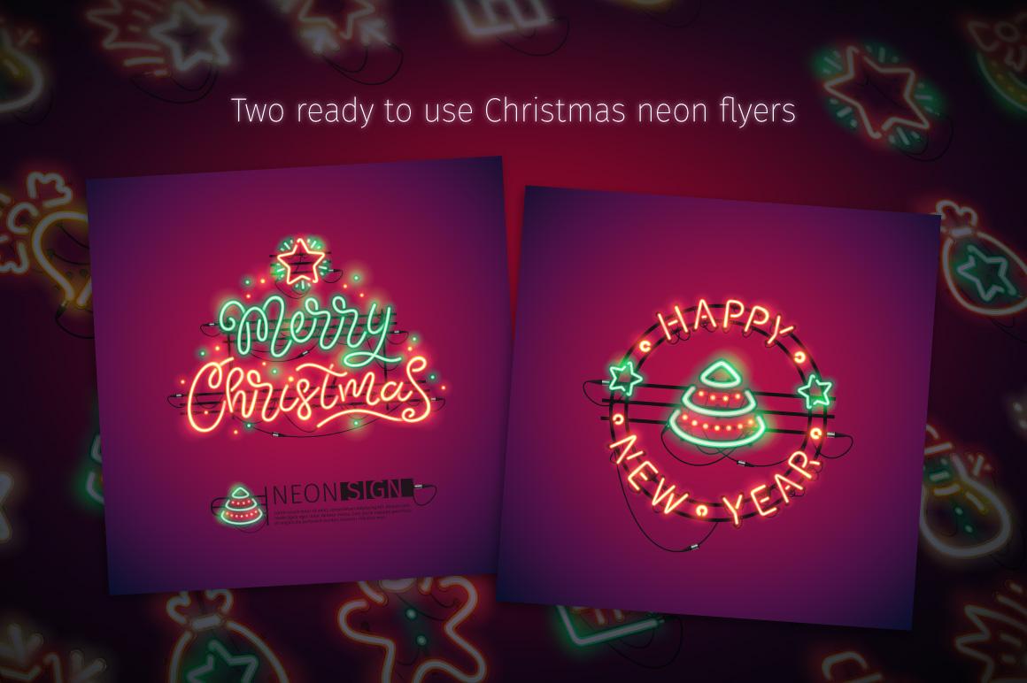Christmas Colorful Neon Icons example image 5
