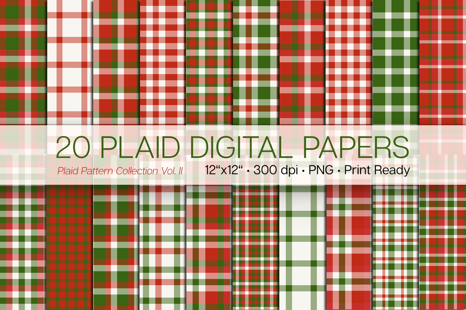 20 Christmas Plaid Digital Papers example image 1
