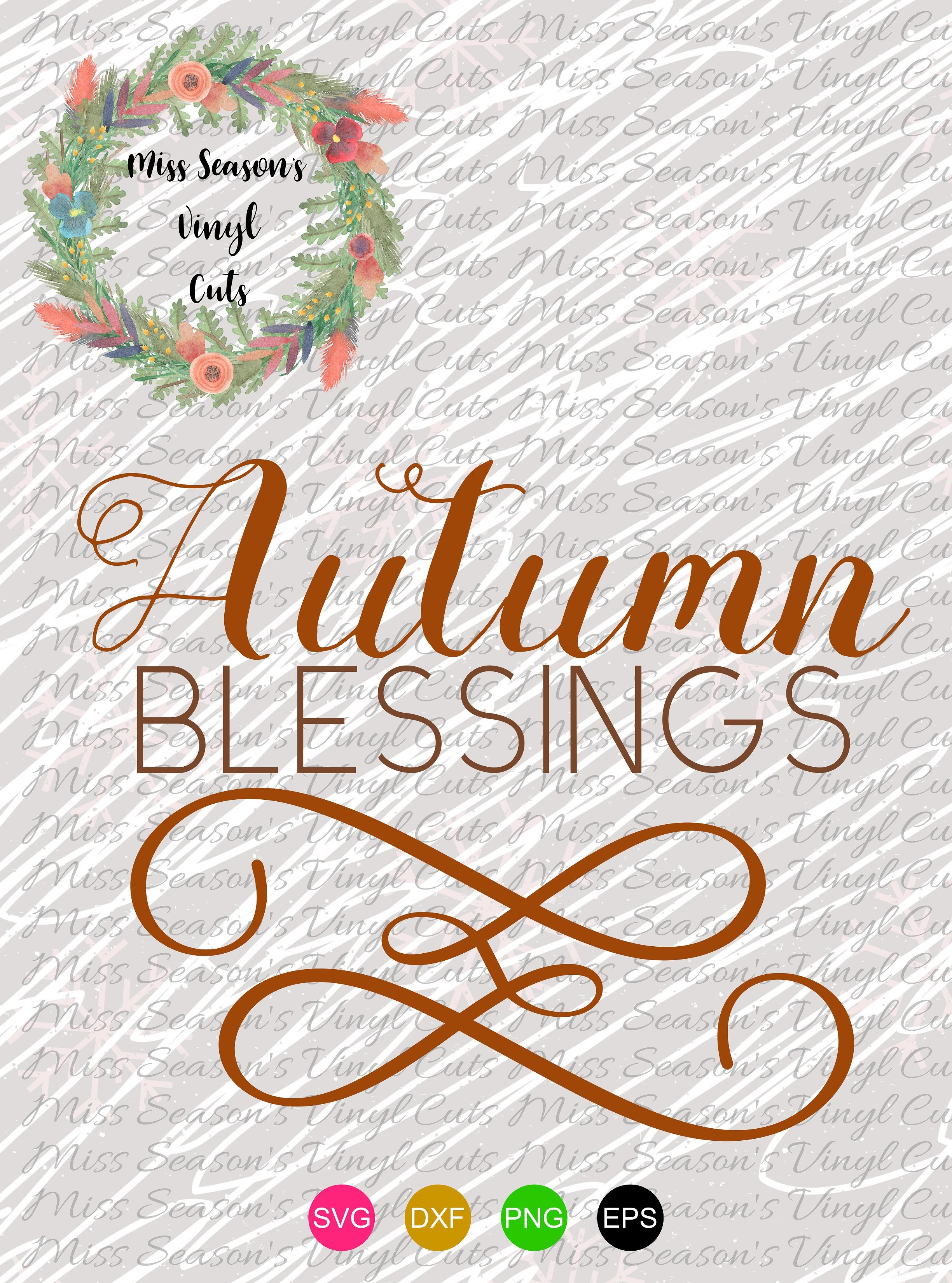 Autumn Blessings SVG Png Dxf eps example image 2