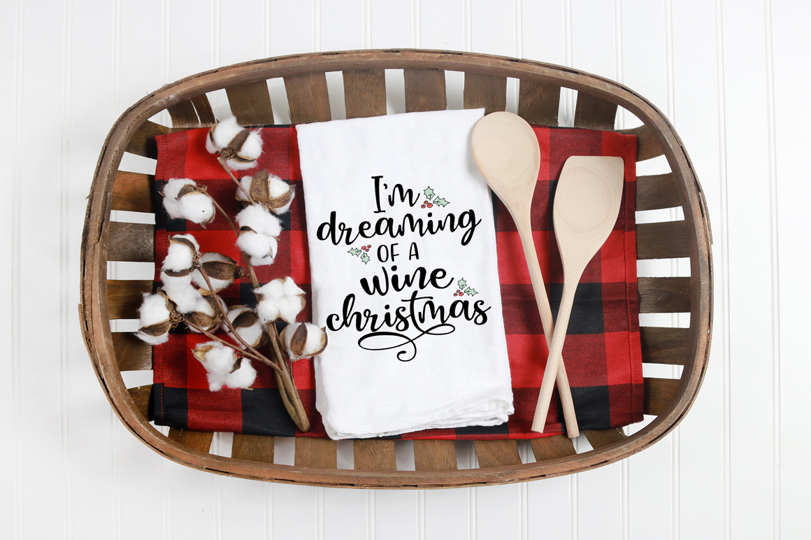 Christmas SVG - I'm Dreaming Of A Wine Christmas example image 4