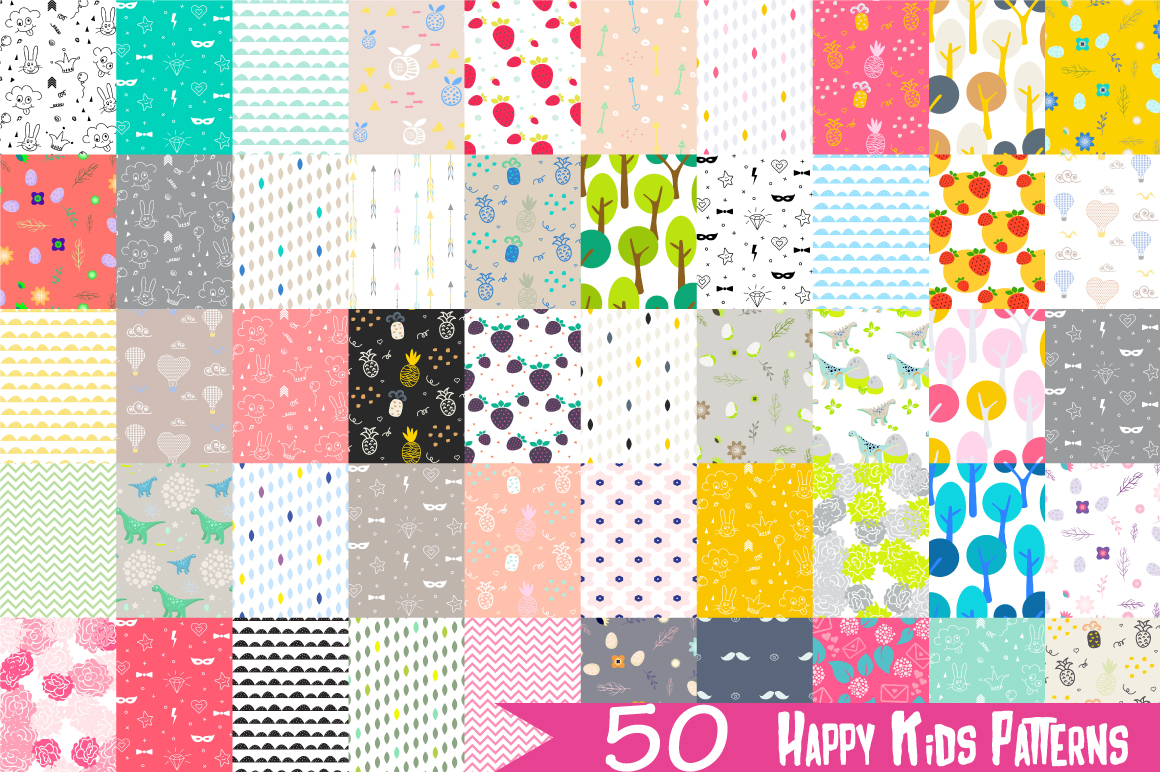50 Happy Kids Patterns example image 1