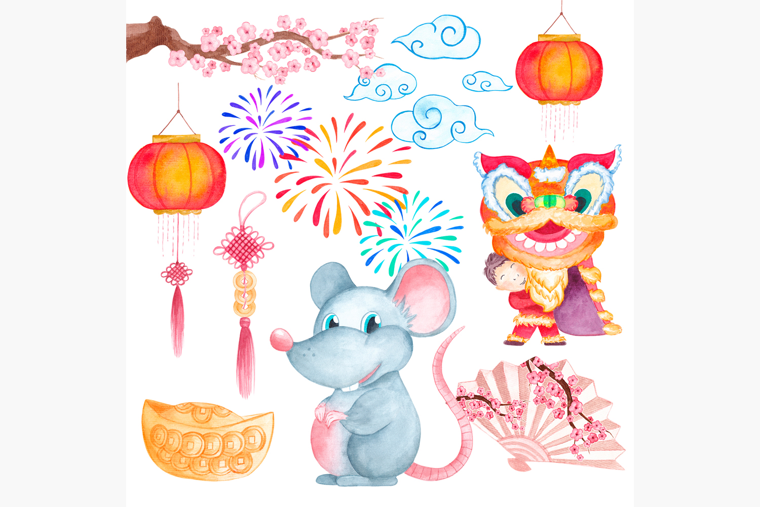 Chinese New Year clipart New year 2020 Year of the Rat example image 2