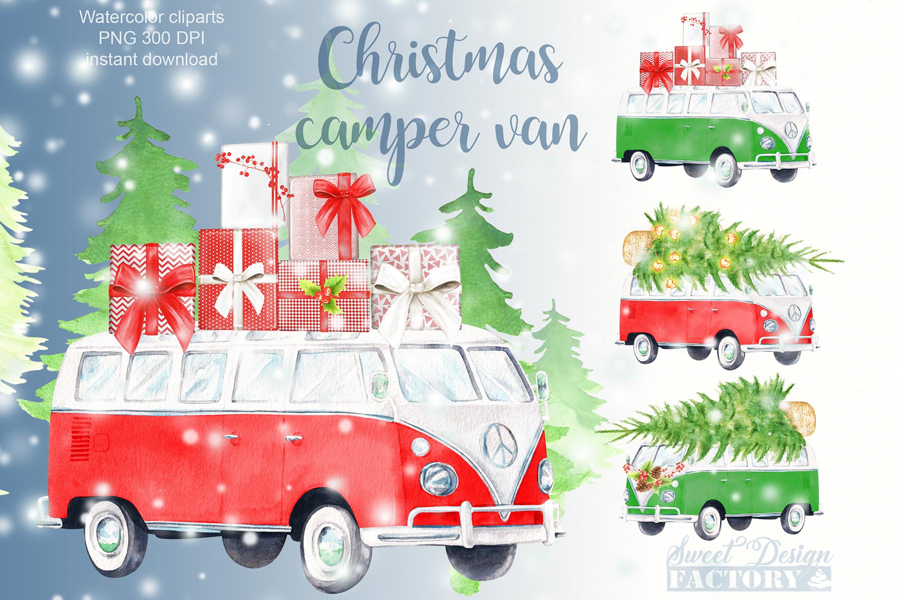Watercolor Christmas retro van clipart example image 1