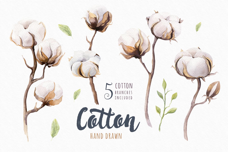 Watercolour cotton & birds example image 3