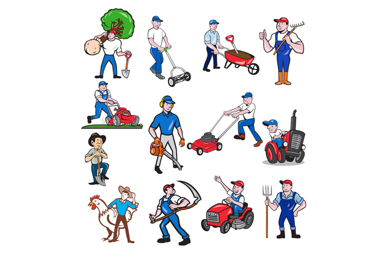 Agricultural Worker Mascot Cartoon Set example image 1