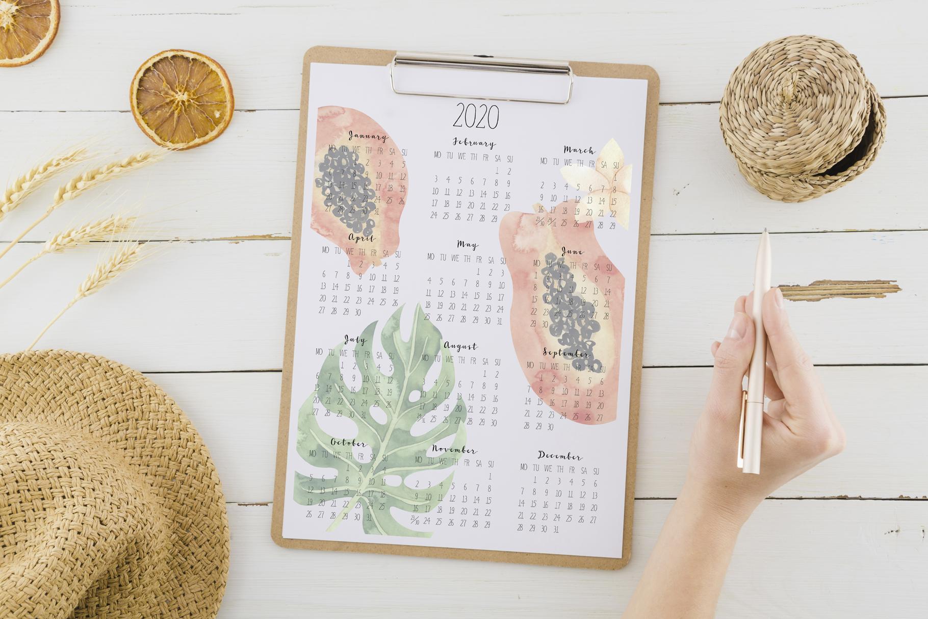 Printable tropical calendar 2020 example image 4