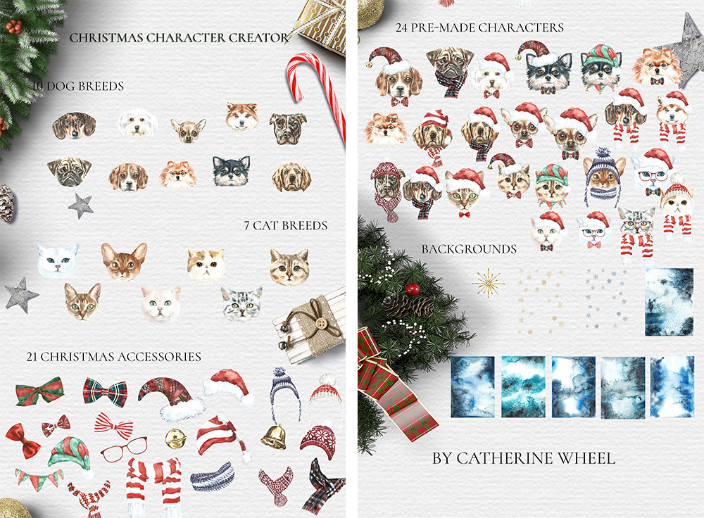 Christmas Animal Creator.Watercolor Dogs & Cats example image 13