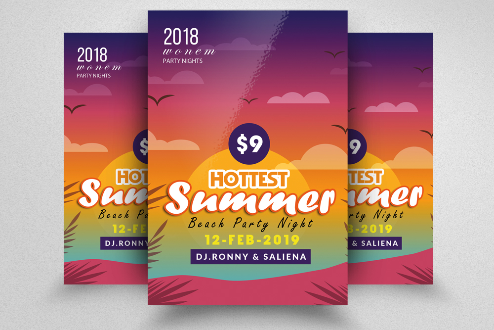 10 Summer Beach Fun Party Flyers Bundle example image 7