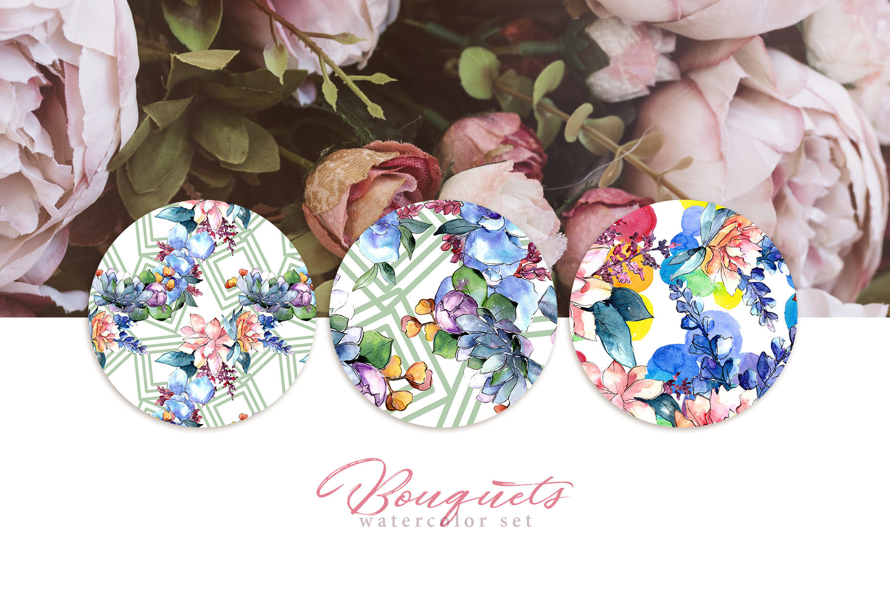 Bouquets flowers set PNG watercolor example image 3