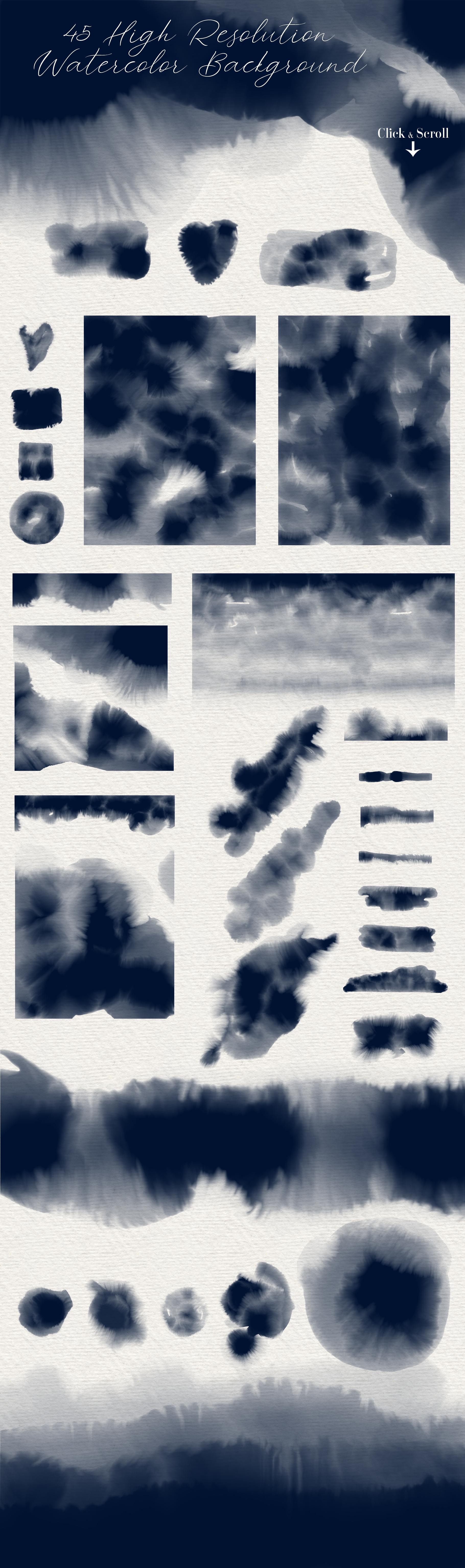 Indigo - 45 Watercolor Textures example image 4