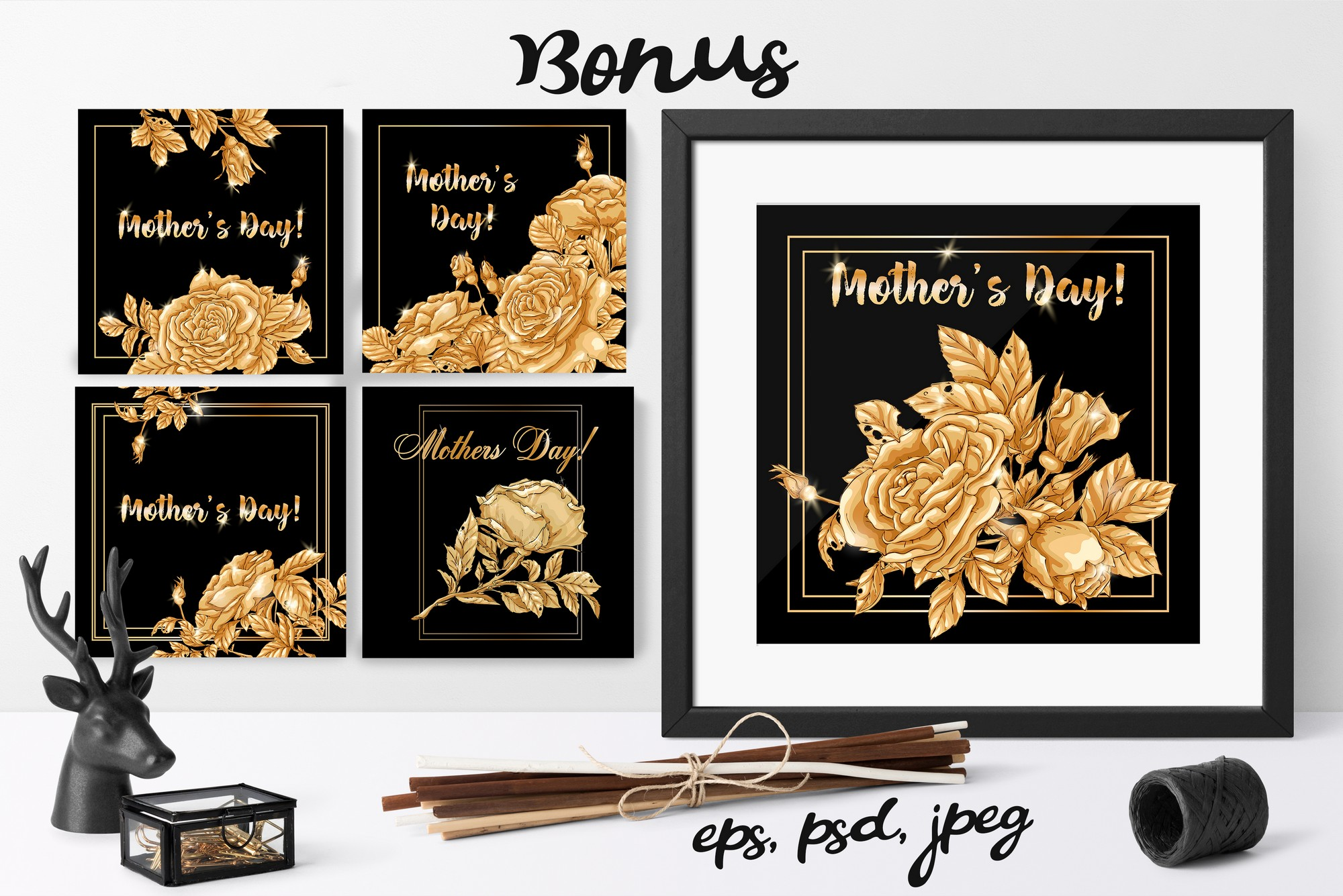 Roses – Vector Clip Art Set example image 16