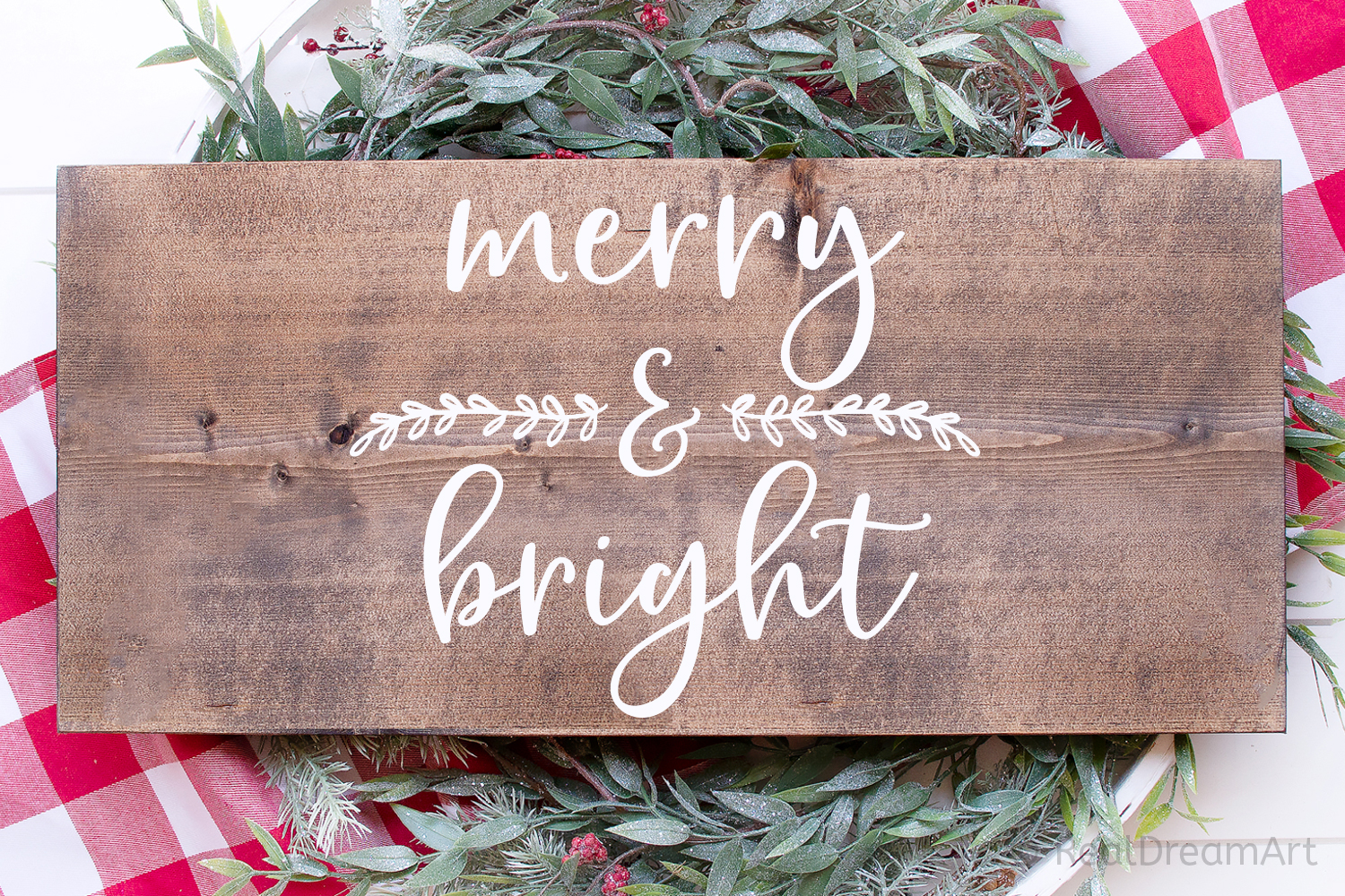 Merry and Bright SVG, DXF, PNG, EPS example image 1