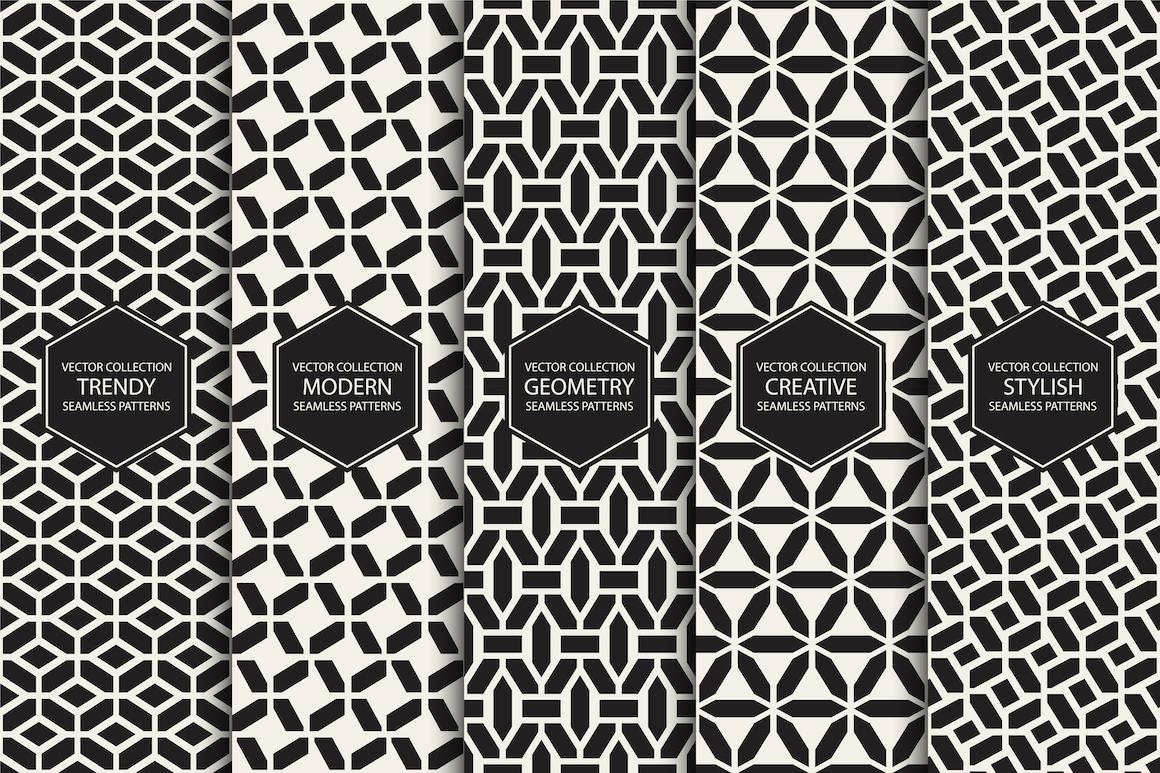 Set of seamless geometric patterns example image 1