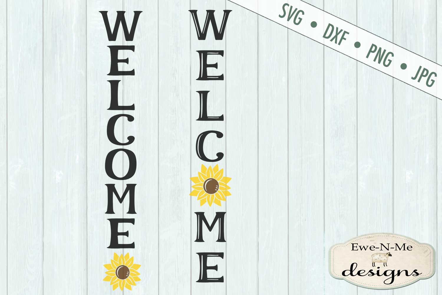 Welcome Sunflower Vertical Porch Sign SVG Cut File example image 2