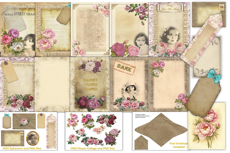 Journalling Papers with FREE Ephemera CU JPEG & PNG example image 1