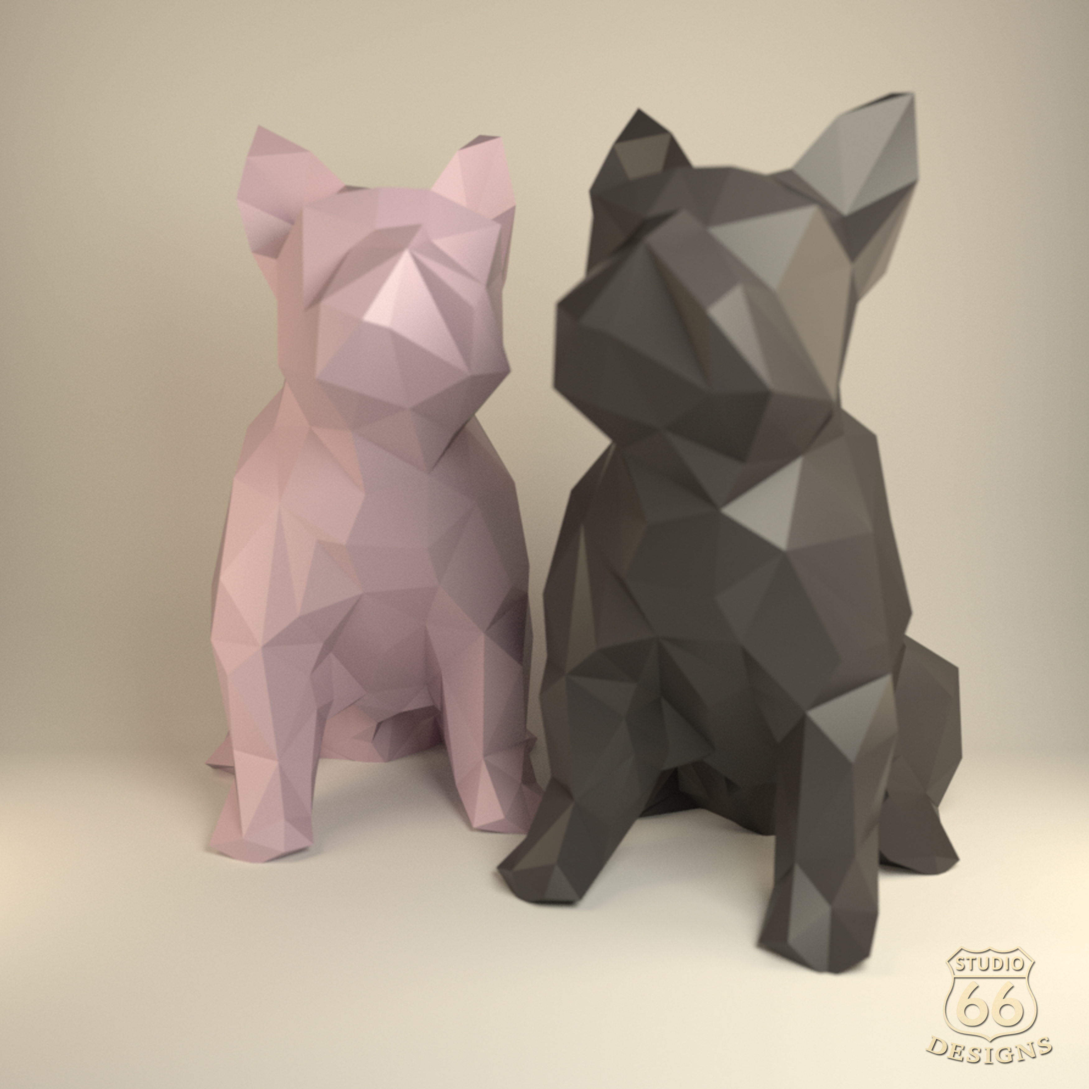 French Bulldog, Papercraft Bulldog, Paper Dog, Paper Animals, Papertoy, Home Decor, Frenchie, 3D papercraft model, lowpoly DIY, hobby idea example image 5