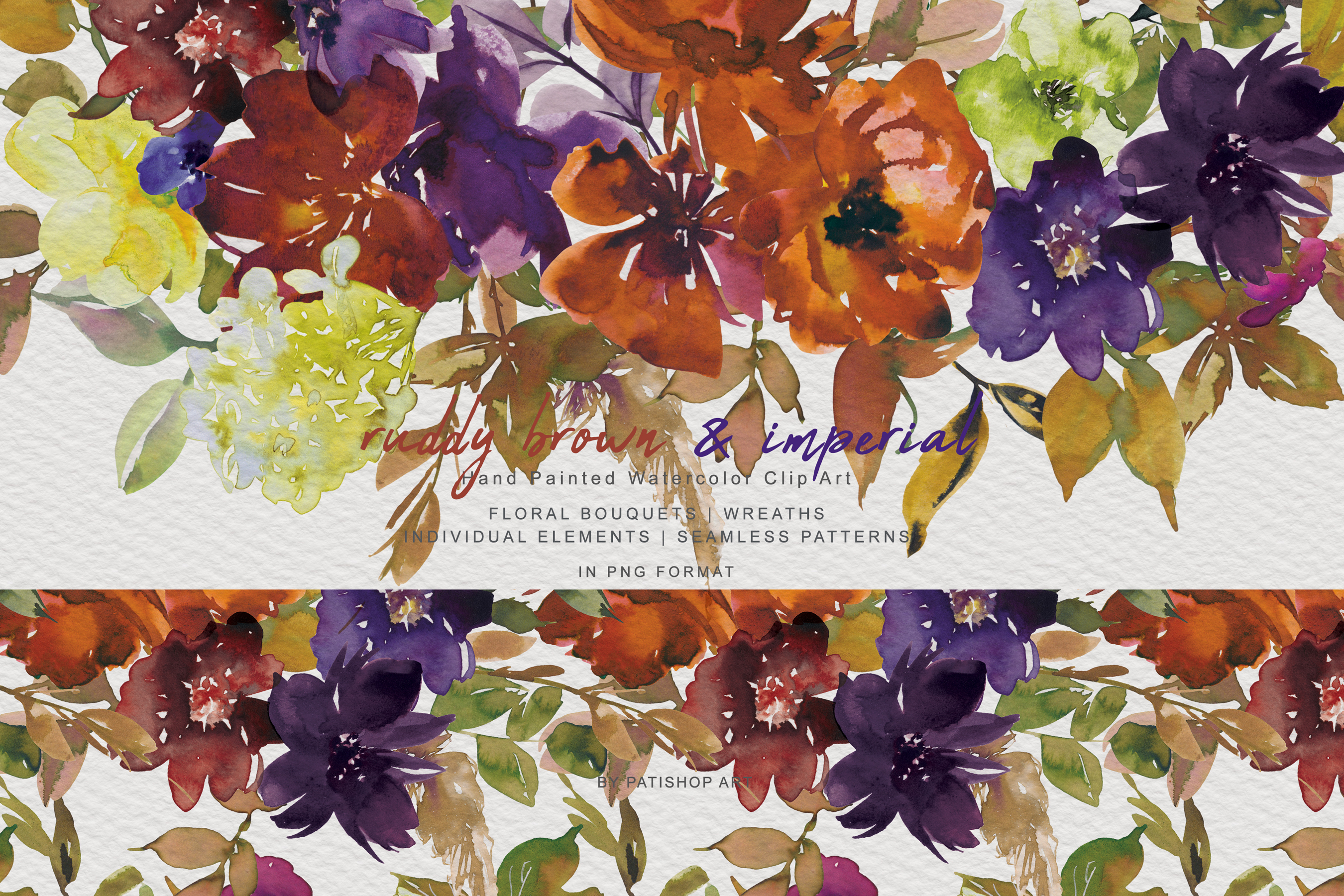 Watercolor Autumn Flowers Clipart & Patterns example image 1